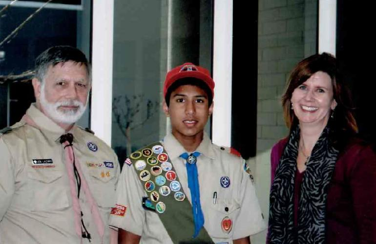 Akshay Rao, Eagle Scout - Troop 94 (pictured middle)