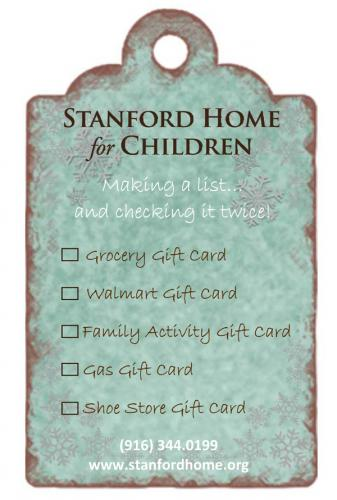 Sample Gift Tag with a Families' Wish List